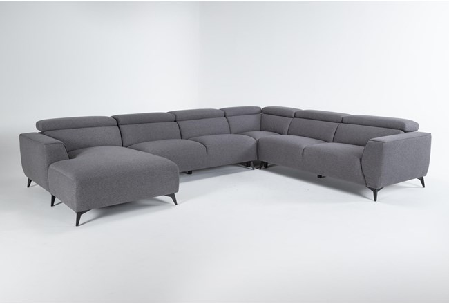 "Lucas Graphite 4 Piece 145"" Sectional With Left Arm Facing Chaise - 360"
