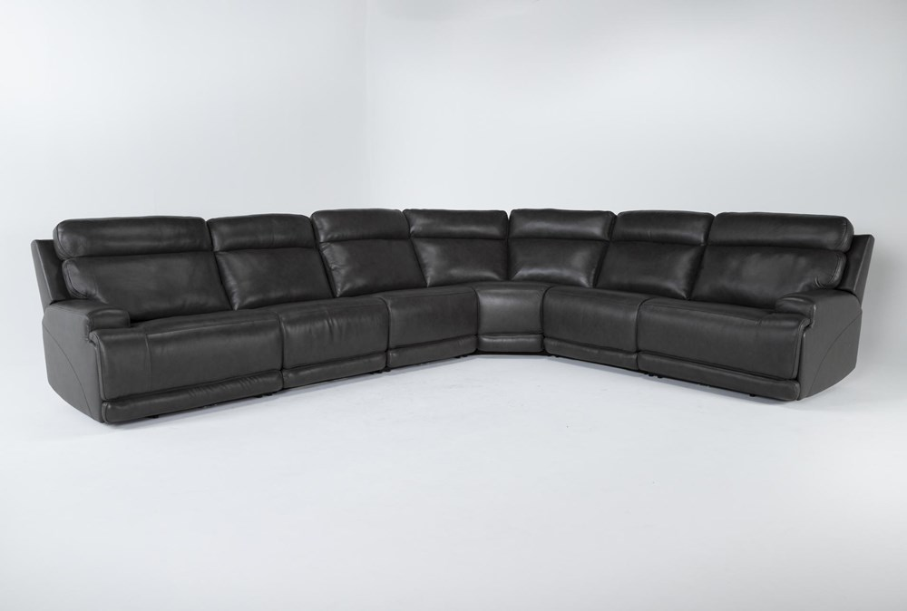 Vance Zero Gravity Grey 6 Piece Sectional With 2 Armless Chairs, Power Headrest