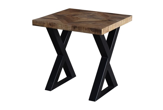 Mango Wood Pieced Diamond Print Accent Table  - 360
