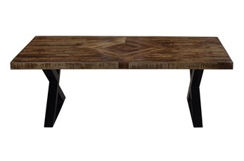 Mango Wood Pieced Diamond Print Coffee Table