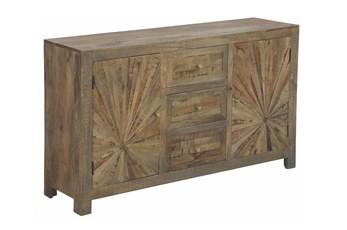 "Natural Wood Starburst 2 Door 3 Drawer 60"" Sideboard"