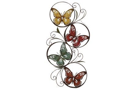 Multi 36 Inch Metal Butterfly Wall Decor - Main