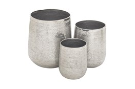 Silver 21 Inch Aluminum Planter Set Of 3