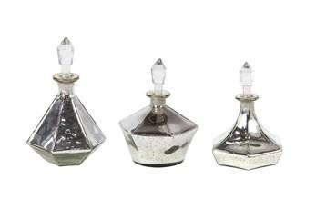 Silver 11 Inch Glass Stopper Bottle Set Of 3