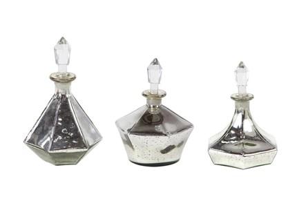 Silver 11 Inch Glass Stopper Bottle Set Of 3 - Main