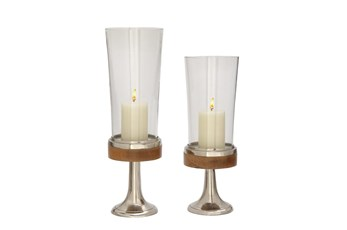 Silver 20 Inch Aluminum Wood Candle Holder Set Of 2