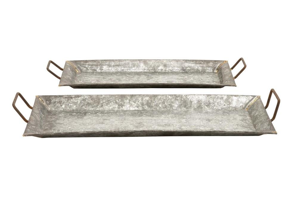Grey 3.5 Inch Metal Galvanized Trays Set Of 2
