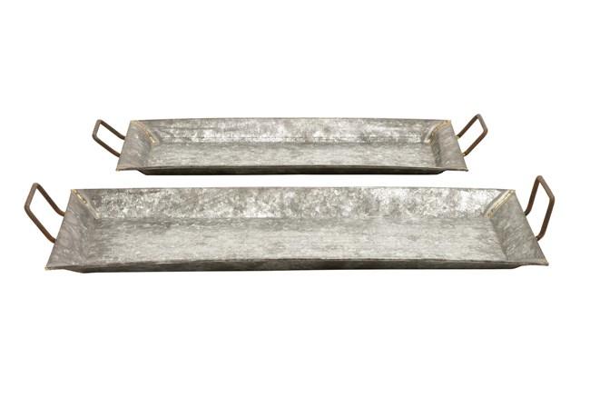 Grey 3.5 Inch Metal Galvanized Trays Set Of 2 - 360
