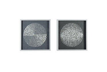 Black 23.5 Inch Polystone Wood Stone Wall Art Set Of 2