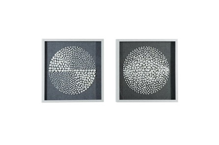 Black 23.5 Inch Polystone Wood Stone Wall Art Set Of 2 - Main