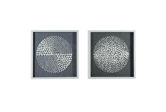 Black 23.5 Inch Polystone Wood Stone Wall Art Set Of 2 - 360