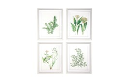White 21 Inch Polystone Wood Glass Framed Wall Art Set Of 4