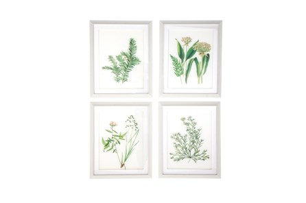 White 21 Inch Polystone Wood Glass Framed Wall Art Set Of 4 - Main