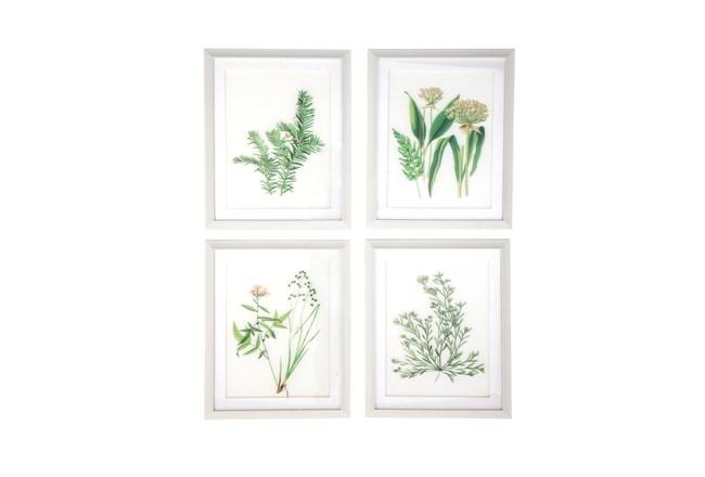 White 21 Inch Polystone Wood Glass Framed Wall Art Set Of 4 - 360
