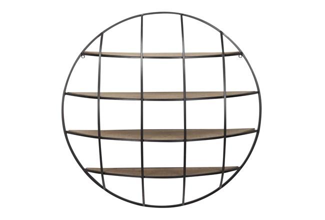Light Brown 36 Inch Metal Wood Wall Shelf - 360