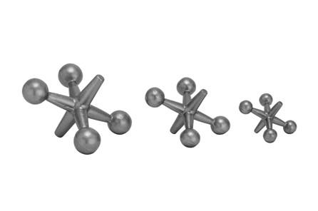 Grey 5 Inch Metal Jacks Sculpture Set Of 3 - Main