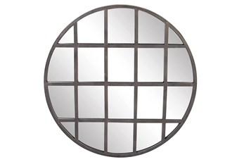 Black 36 Inch Metal Wall Mirror