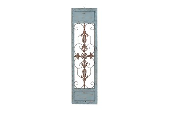 Turquoise 47 Inch Wood Metal Wall Panel