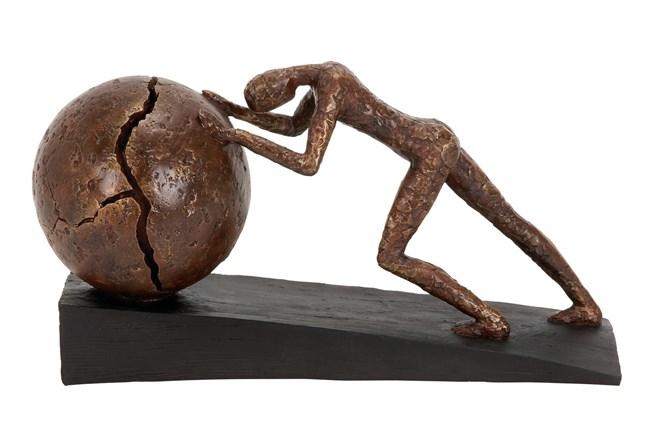 Brown 8 Inch Polystone Sportman Sculpture - 360