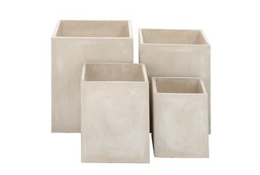 White 21 Inch Fibrclay Planter Set Of 4