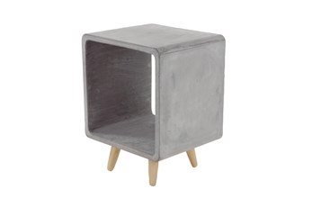 Grey 21 Inch Fiber Clay Wood Table