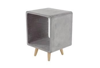Grey 21 Inch Fiber Clay Wood Table