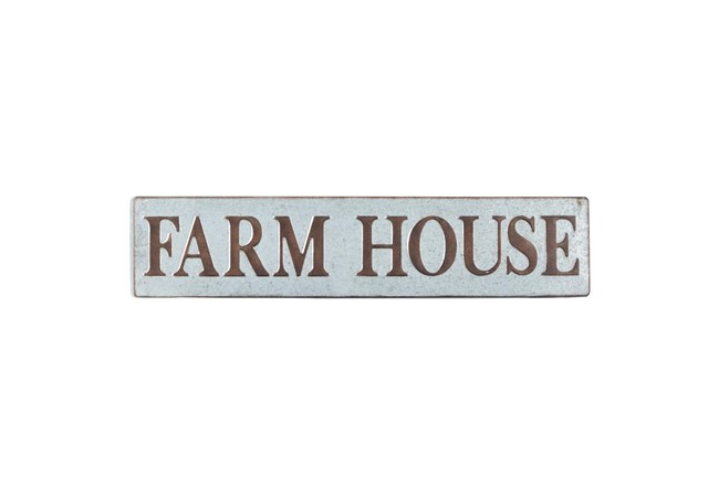 "Brown 10 Inch Metal ""Farmhouse"" Wall Sign - 360"