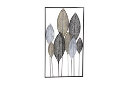 Black 37 Inch Metal Leaf Wall Decor
