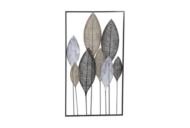 Black 37 Inch Metal Leaf Wall Decor - 360