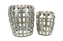 Silver 23 Inch Metal Wood Accent Table Set Of 2