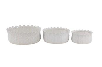 White 6 Inch Ceramic Planter White Set Of 3