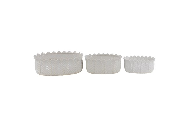 White 6 Inch Ceramic Planter White Set Of 3 - 360