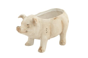 White 10 Inch Polystone Pig Flower Pot