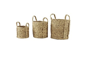 Brown 20 Inch Waterhyancinth Planter Set Of 3