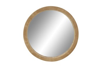 Brown 24 Inch Wood Wall Mirror