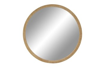 Brown 40 Inch Wood Wall Mirror