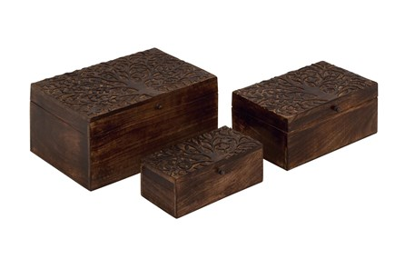 Brown 6 Inch Wood Carved Box Set Of 3 - Main
