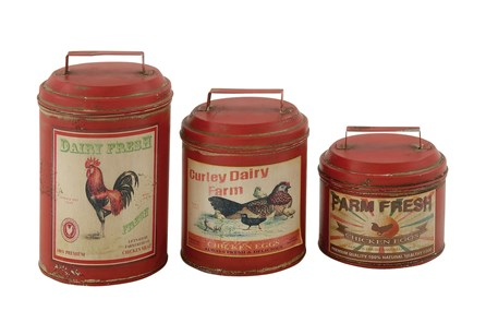 Red 11 Inch Metal Canister Set Of 3 - Main