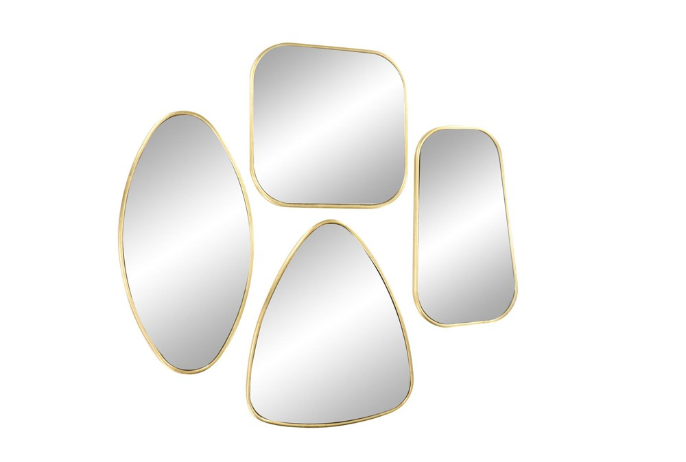 Gold 19.5 Inch Metal Wall Mirror Set Of 4
