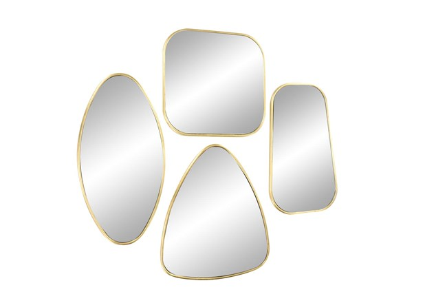 Gold 19.5 Inch Metal Wall Mirror Set Of 4 - 360