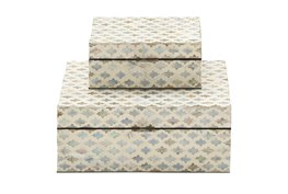 White 5 Inch Wood Mop Inlay Box Set Of 2