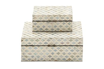 White 5 Inch Wood Mop Inlay Box Set Of 2