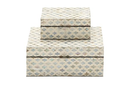 White 5 Inch Wood Mop Inlay Box Set Of 2 - Main