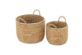 Tan 12 Inch Seagrass Basket Set Of 2