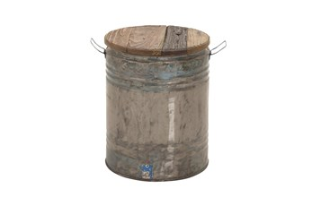 Grey 20 Inch Metal Wood Drum Stool