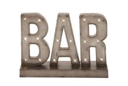 "Silver 12"" Metal Led Bar Sign"