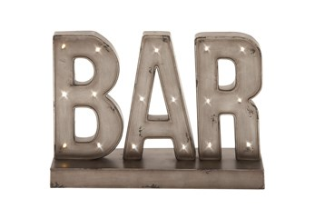Silver 12 Inch Metal Led Bar Sign