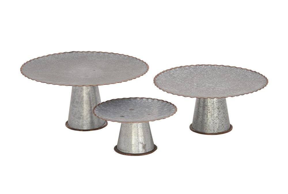 Grey 7 Inch Metal Galvanized Cake Stand Set Of 3