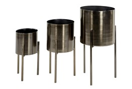 Black 18 Inch Metal Planter Set Of 3