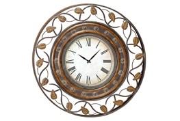 Brown 36 Inch Metal Wall Clock